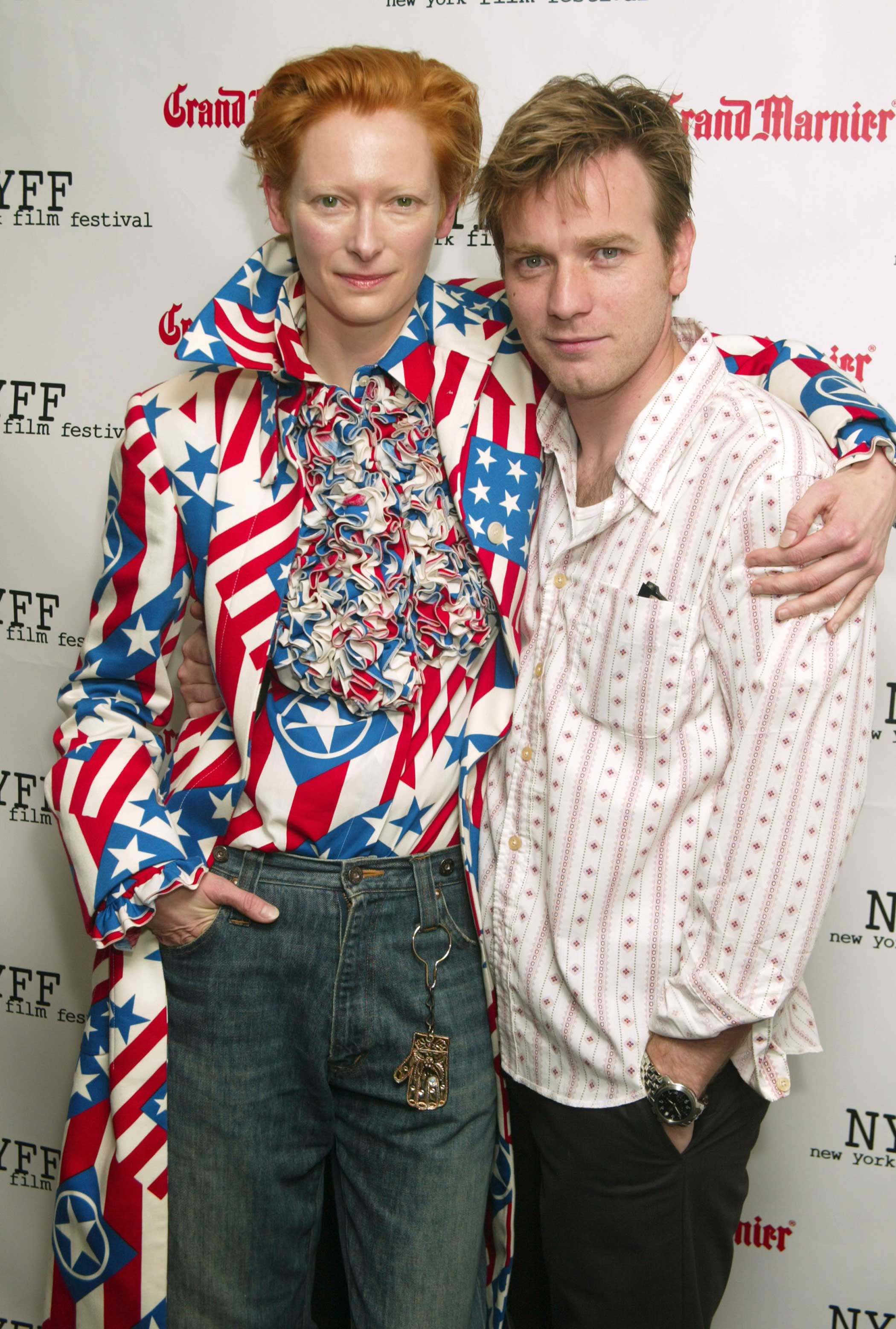 Tilda Swinton and Ewan McGregor during the Young Adam premiere in New York City on Oct. 8, 2003.