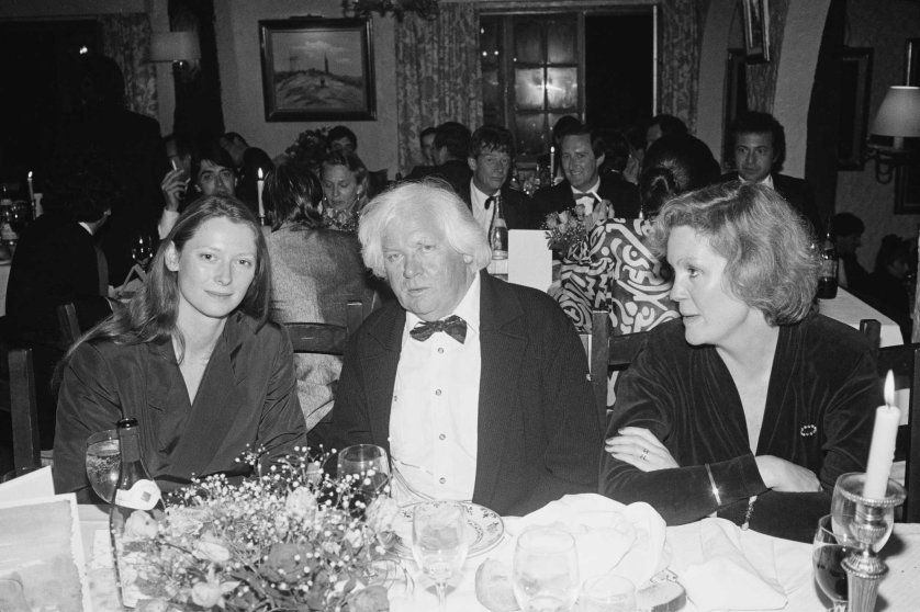 Tilda Swinton, left, and director Ken Russell are seen at the Cannes Film Festival to present their film Aria in Cannes, France in May 1987.