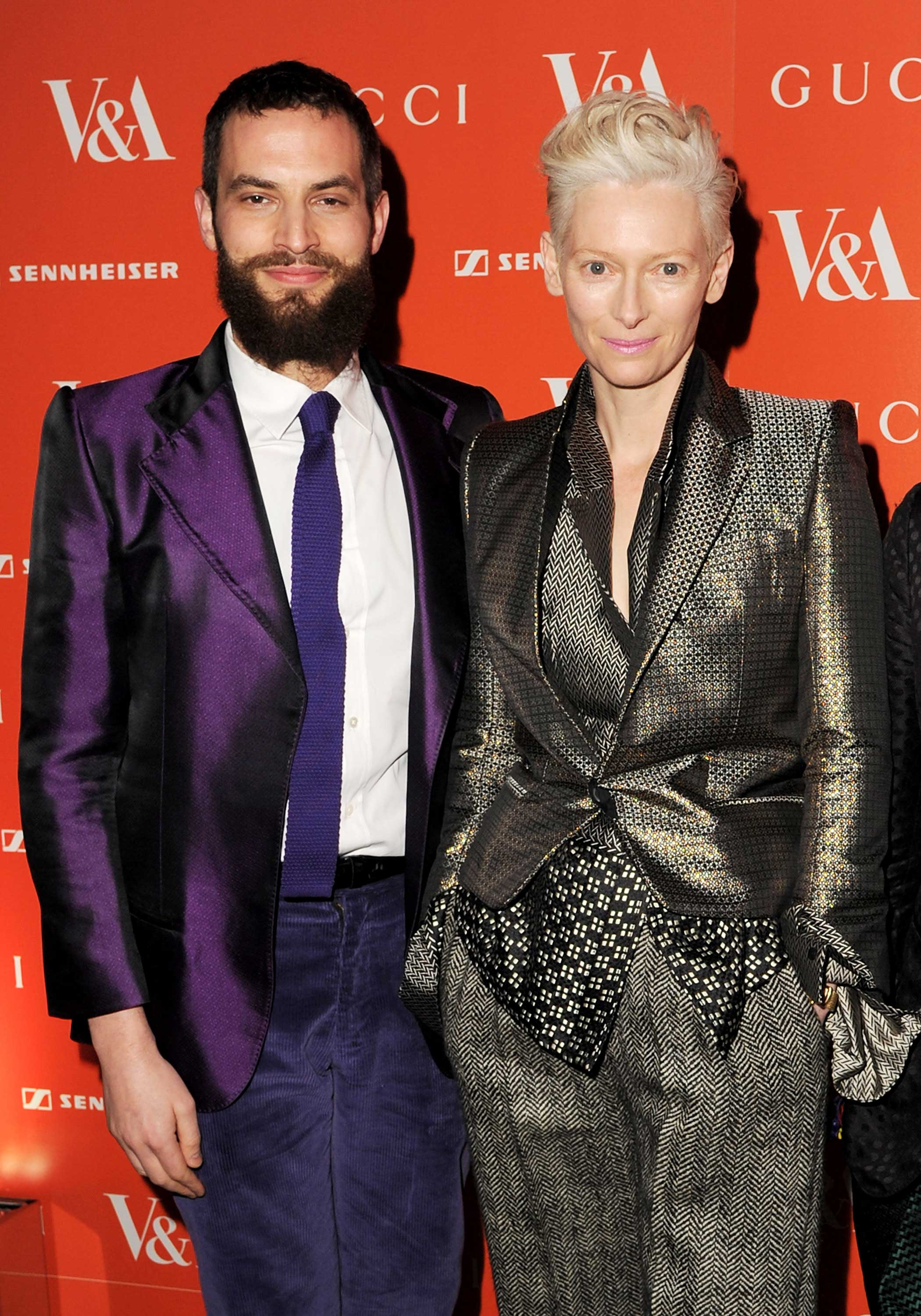 Sandro Kopp, left, and Tilda Swinton, right, attend the private viewing for the David Bowie Is exhibition at the Victoria and Albert Museum on March 20, 2013 in London.