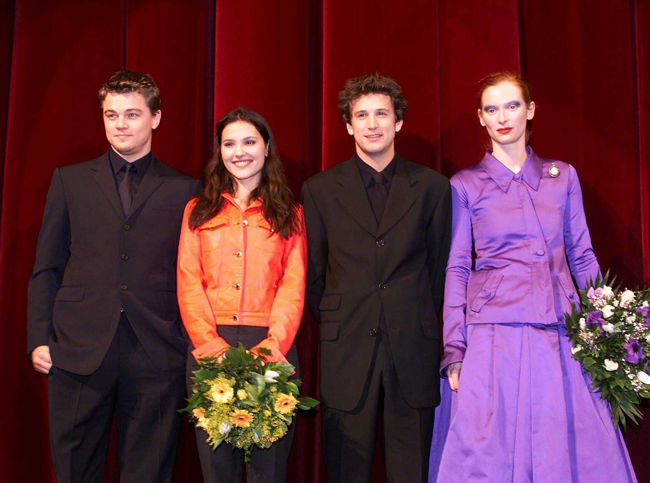 From left: Leonardo Dicaprio, Virginie Ledoyen, Guillaume Canet, and Tilda Swinton at the premiere of The Beach in Berlin on Feb 13, 2000.