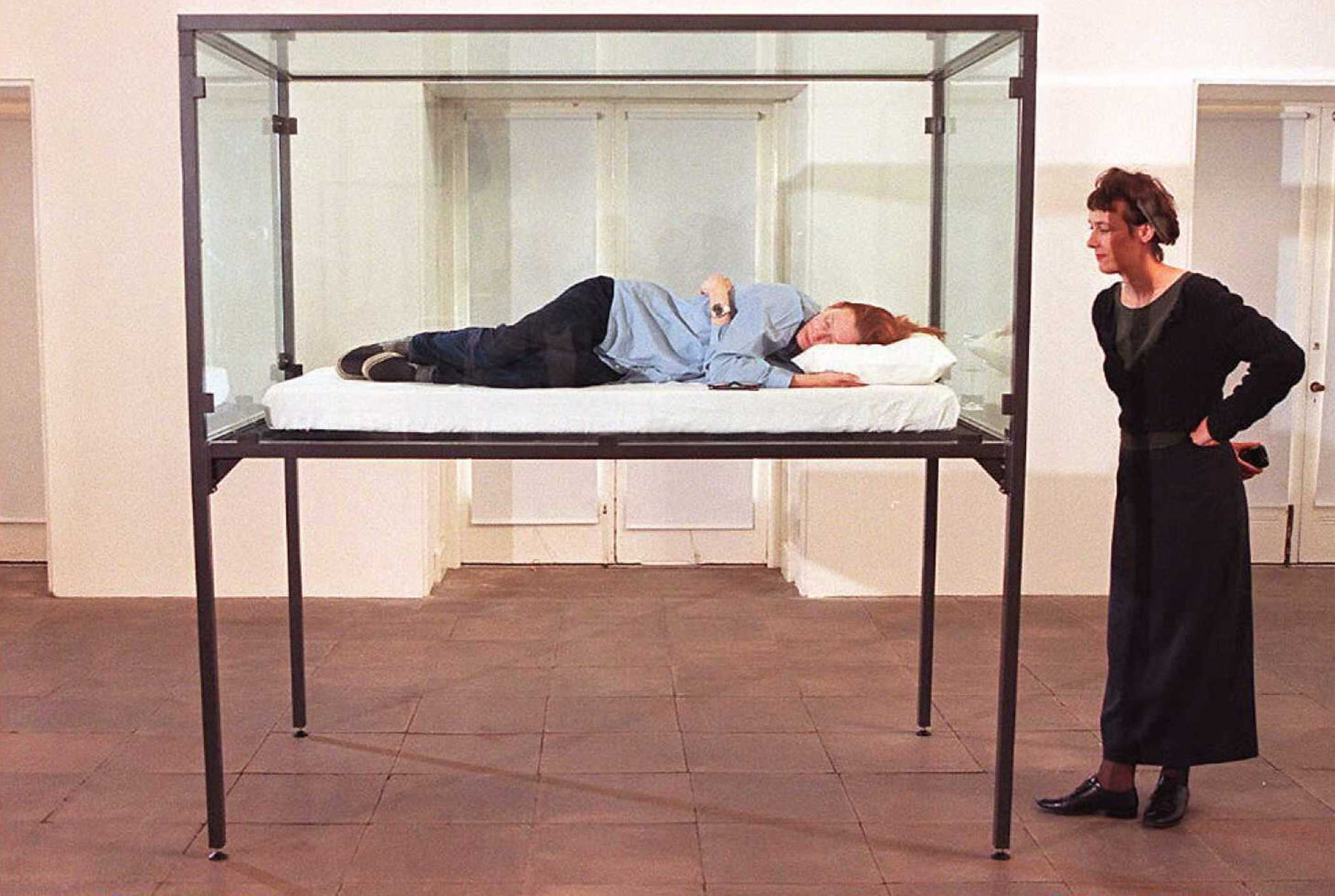 Tilda Swinton sleeps in a glass box as part of an exhibition called  The Maybe  at the Serpentine Gallery on Sept. 4, 1995 in London.