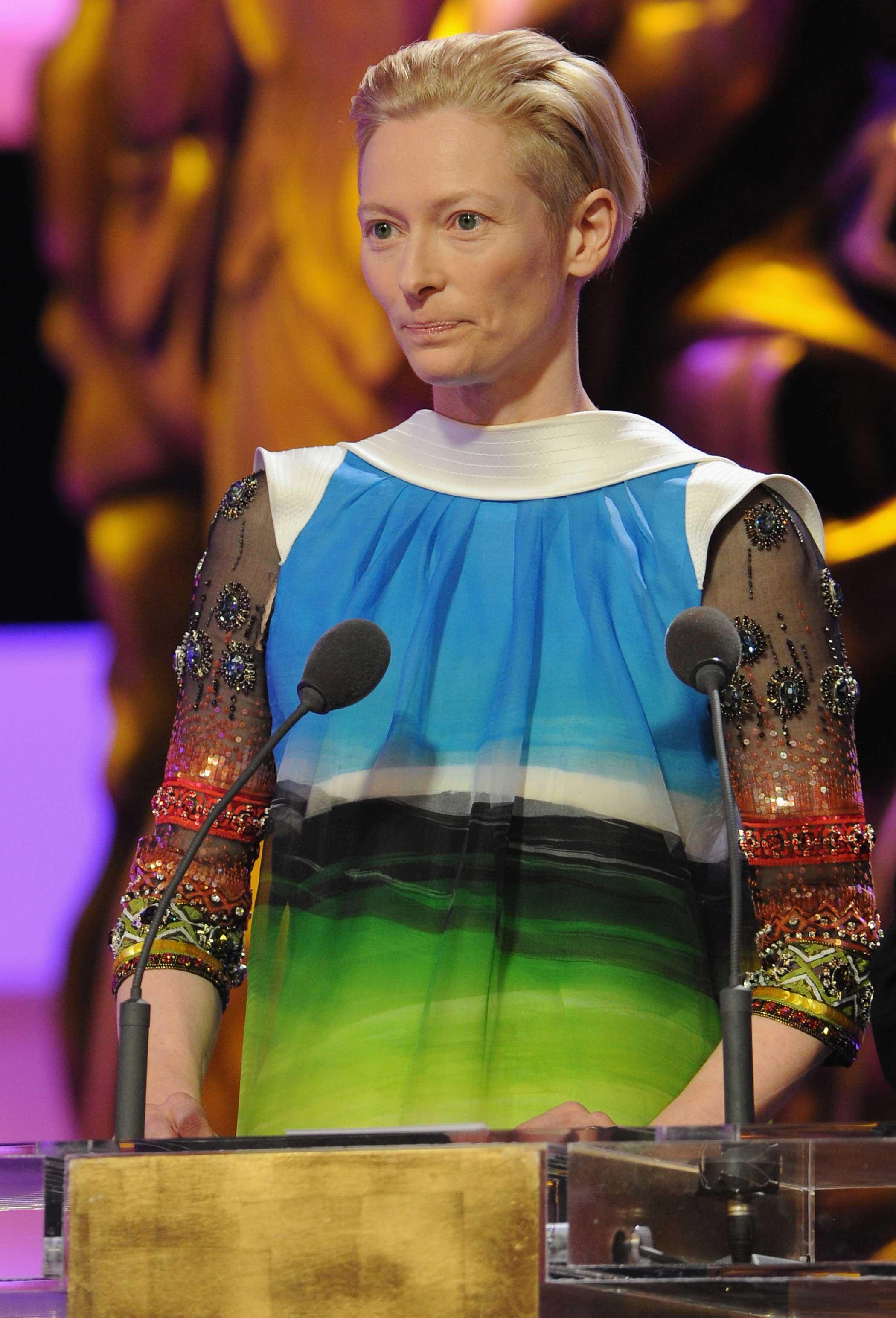 Tilda Swinton onstage during the Cesar Film Awards on Feb. 27, 2009 in Paris.