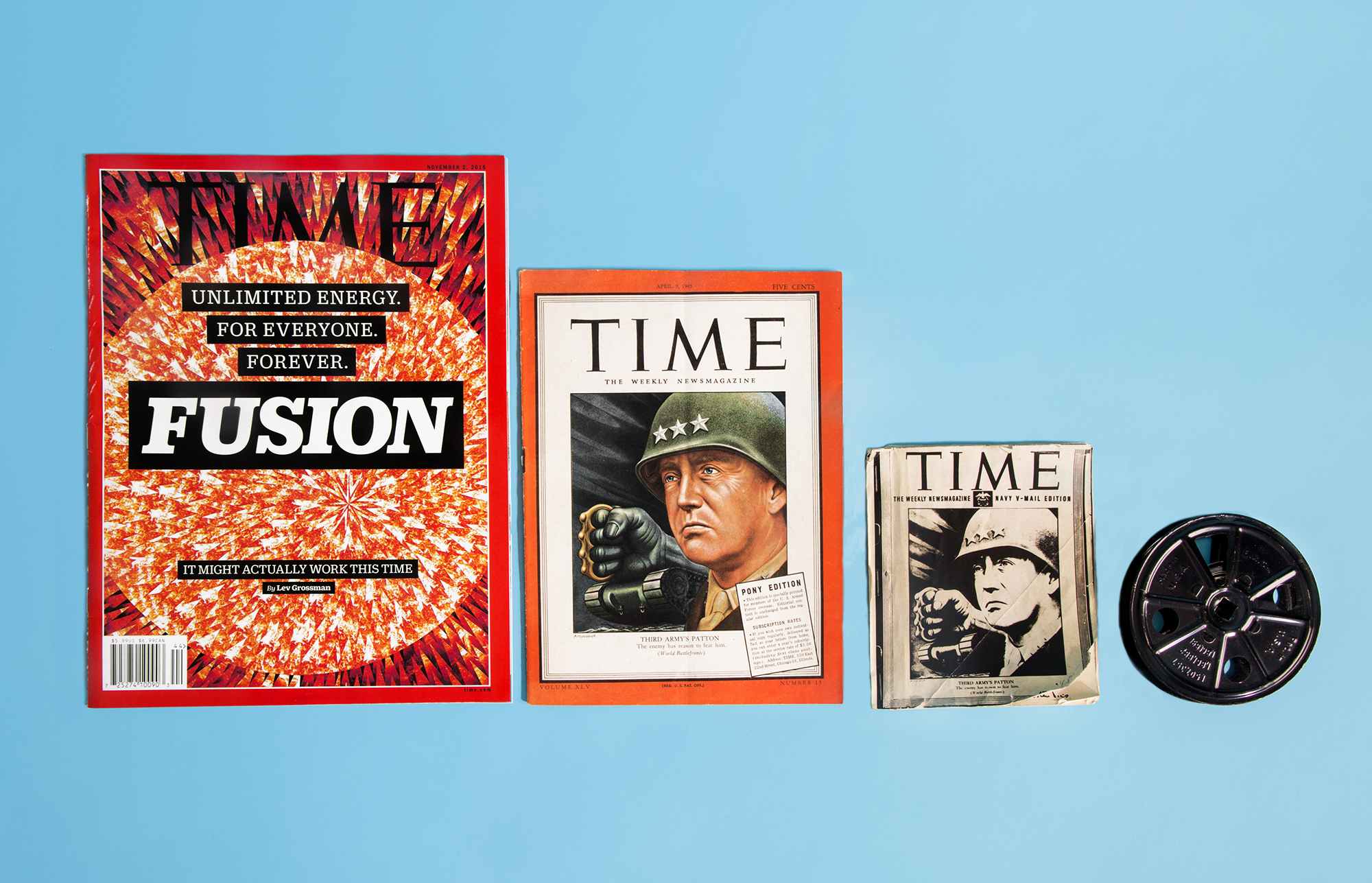 Pony Editions of TIME:  (regular sized edition of TIME at left for scale) In 1942, TIME began printing  pony  editions of its magazines for U.S. armed forces members fighting in World War II abroad. The slimmer, smaller copies had all the same text, but thinner paper and no advertisements, to facilitate shipping overseas. Pictured on the right is an even smaller microfilm copy of the magazine, printed in black and white on-site for troops who subscribed to the TIME microfilm reels (far right) that were even easier to ship.