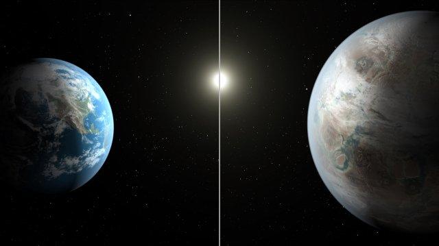 An artistic concept of Kepler-452b, Earth's Bigger, Older Cousin.