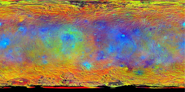 This map-projected view of Ceres was created from images taken by NASA's Dawn spacecraft during its high-altitude mapping orbit, in August and Sept. of 2015.