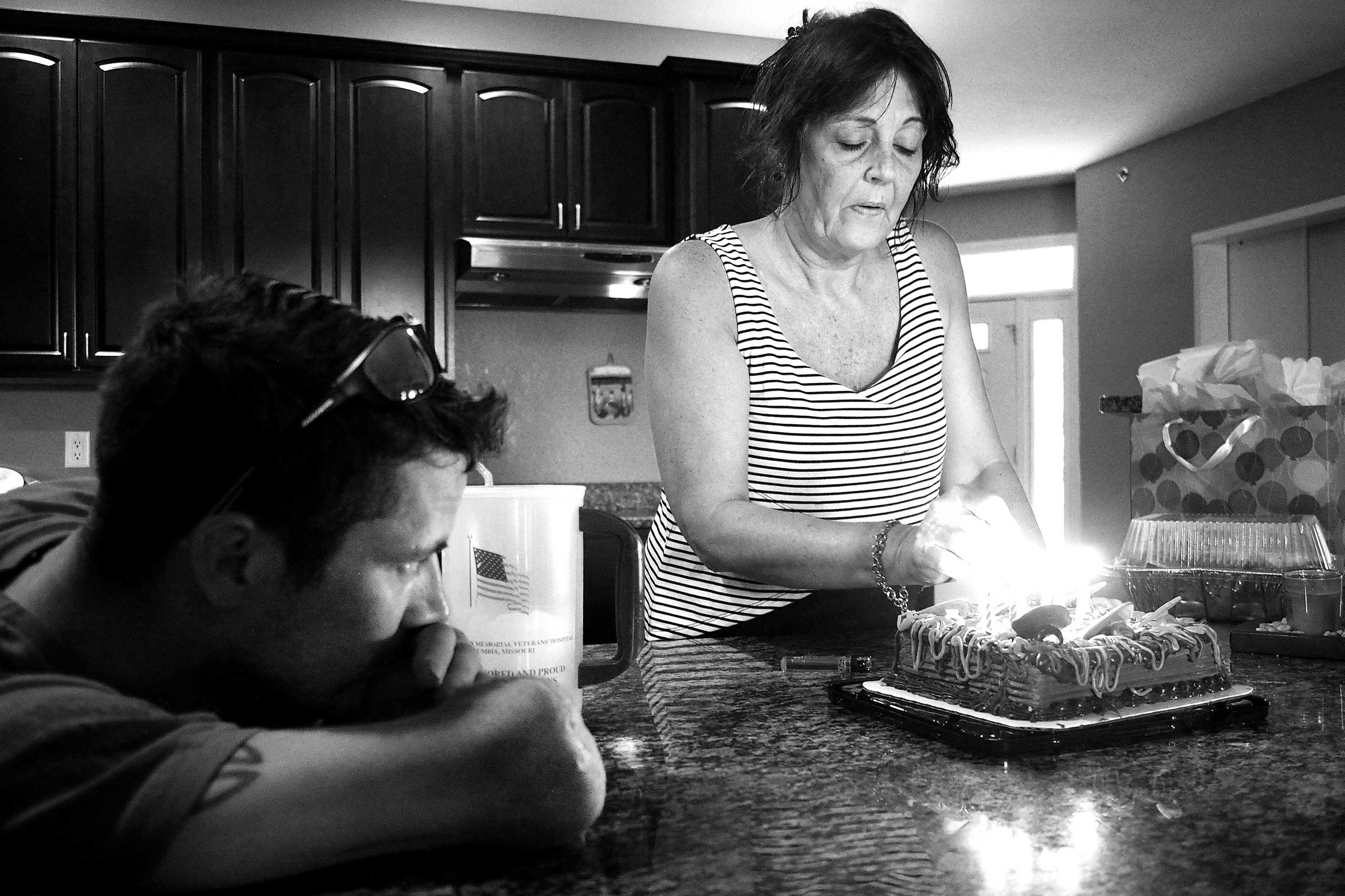 Nicely and his mother, Julie, celebrating her birthday. Lake Ozark, Miss., 2015.
