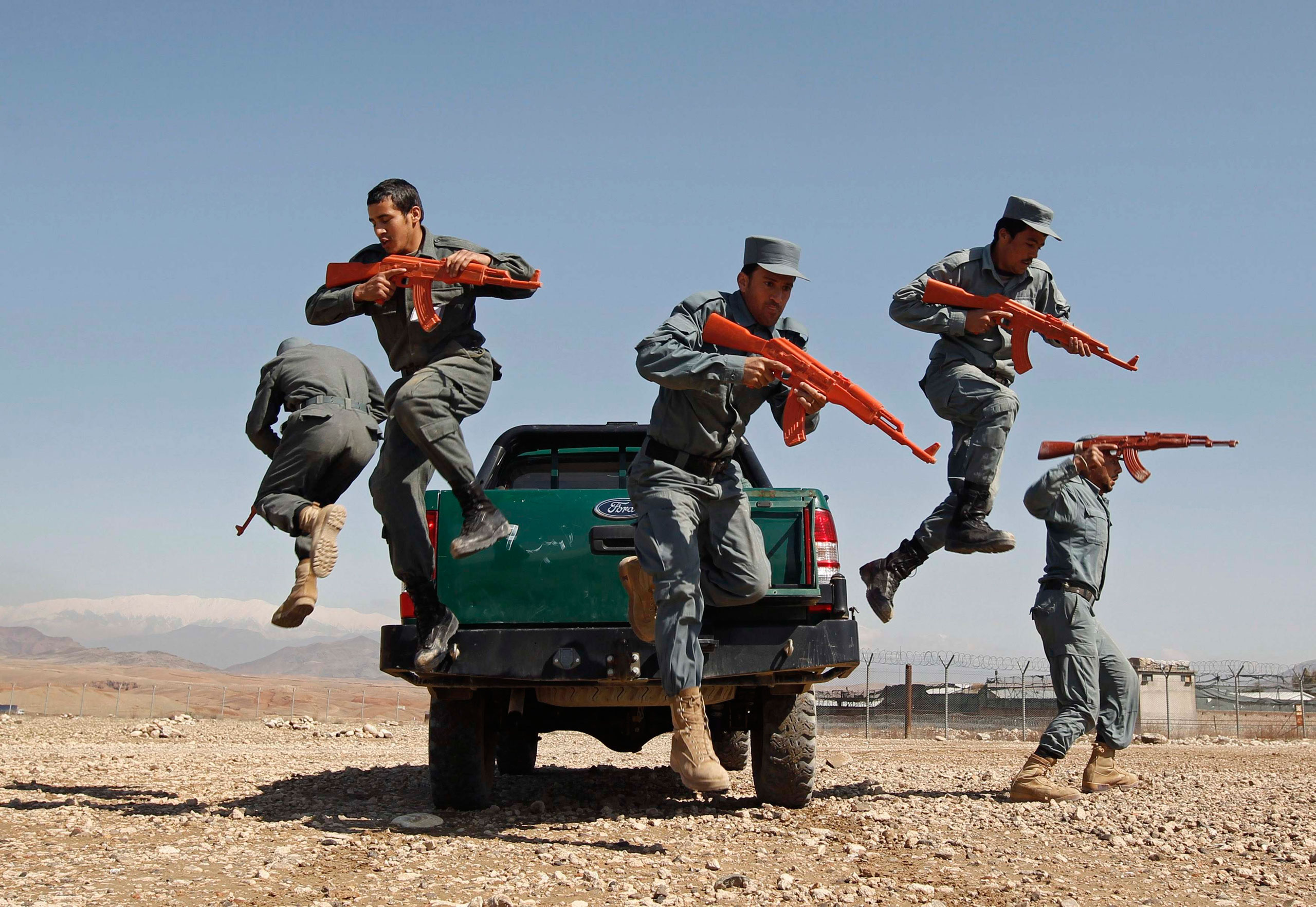 Afghan policemen display their skills at a police training center in Nangarhar Province, in the eastern part of Afghanistan. March 9, 2015.