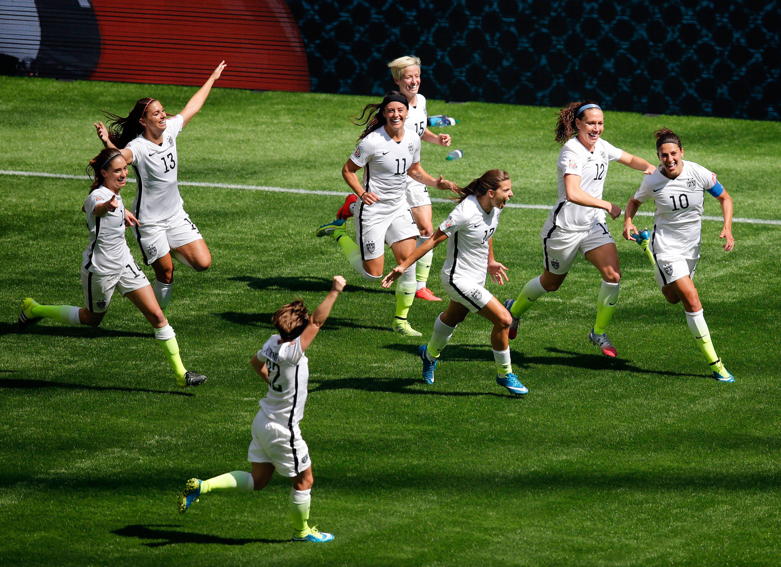 United States midfielder Carli Lloyd celebrates with teammates after scoring against Japan during the first half of the final of the FIFA 2015 Women's World Cup at BC Place Stadium, Vancouver, British Columbia. July 5, 2015