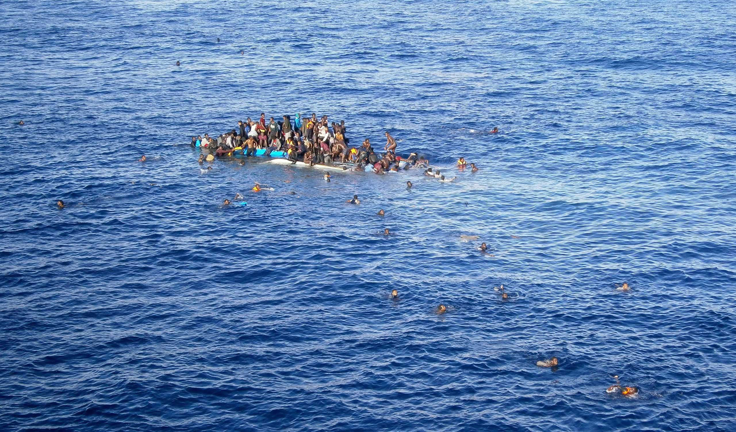 A boat with refugees in the Mediterranean Sea. April 12, 2015.
