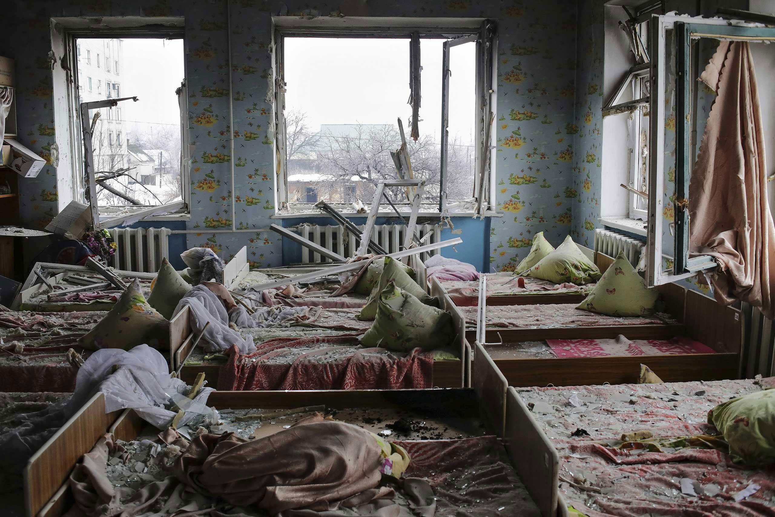 A view of a kindergarten that was shelled in Debaltseve, Donetsk area, Ukraine. Jan. 22, 2015.