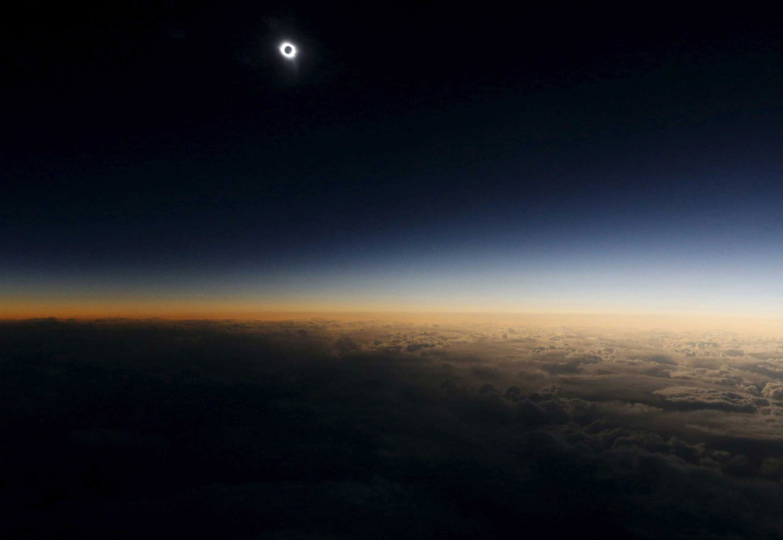 A view from a plane during the so-called  Eclipse Flight  from the Russian city of Murmansk to observe the solar eclipse above the neutral waters of the Norwegian Sea. March 20, 2015.