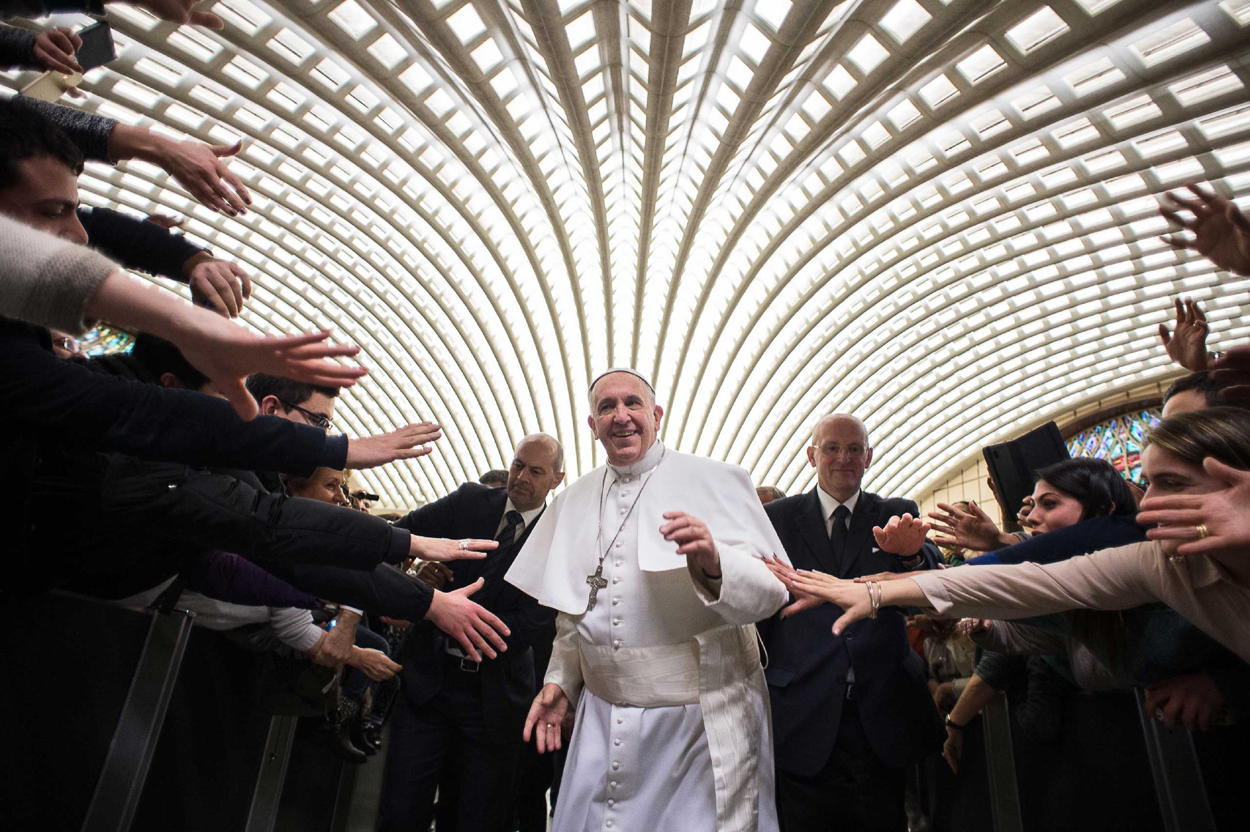 Pope Francis arrives for a special audience with members of the dioceses of Cassano allo Ionio, from southern Italy, at the Vatican. Feb. 21, 2015.