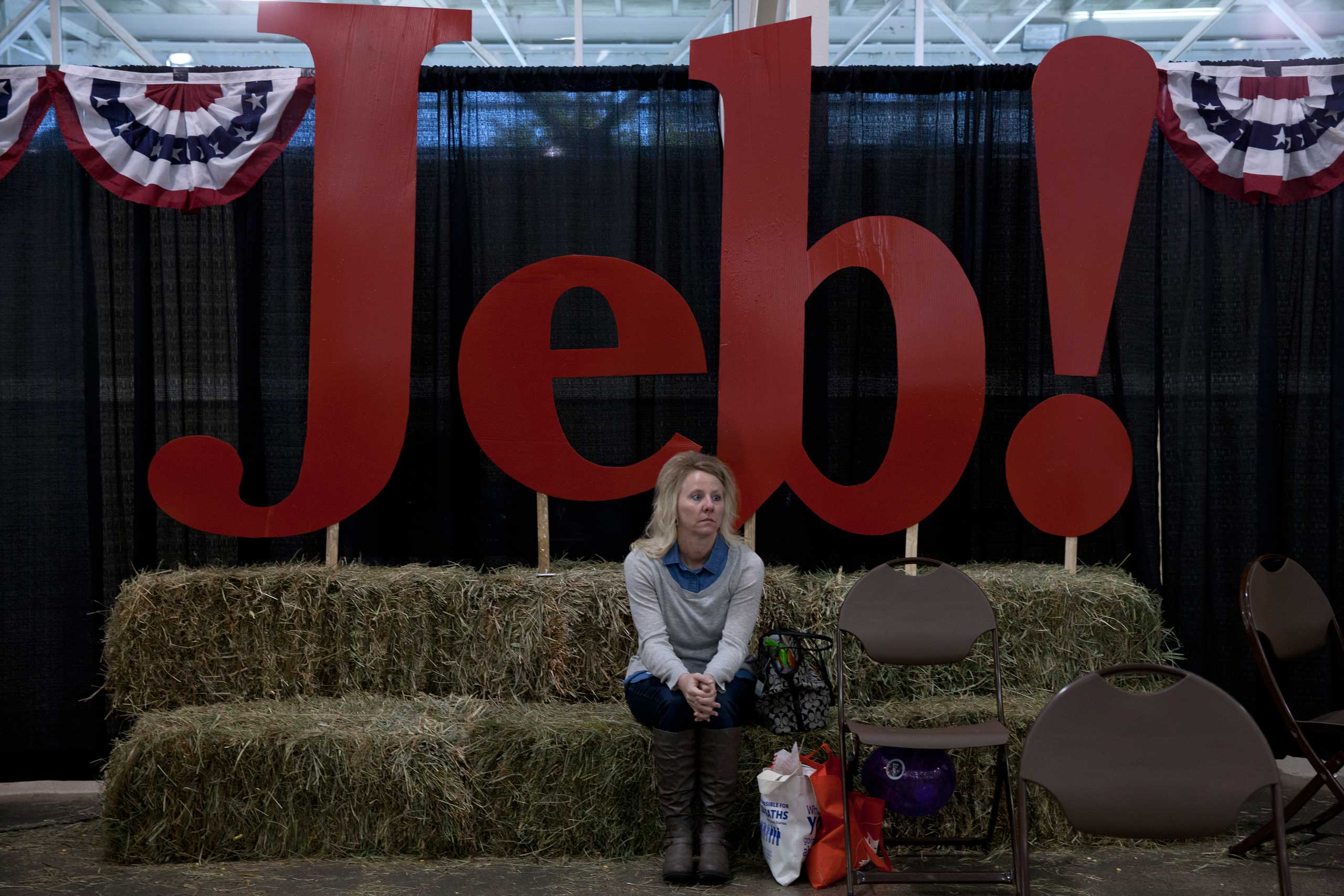 "A Jeb Bush supporter is seen at the ""Growth and Opportunity Party"" In Des Moines, Iowa. Nov. 7, 2015."