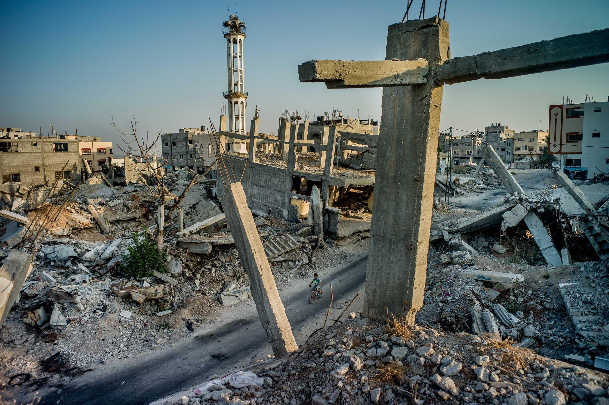 Shejaiya, the destroyed neighborhood abutting the border fence with Israel in Gaza City, Gaza Strip. Aug. 1, 2015.