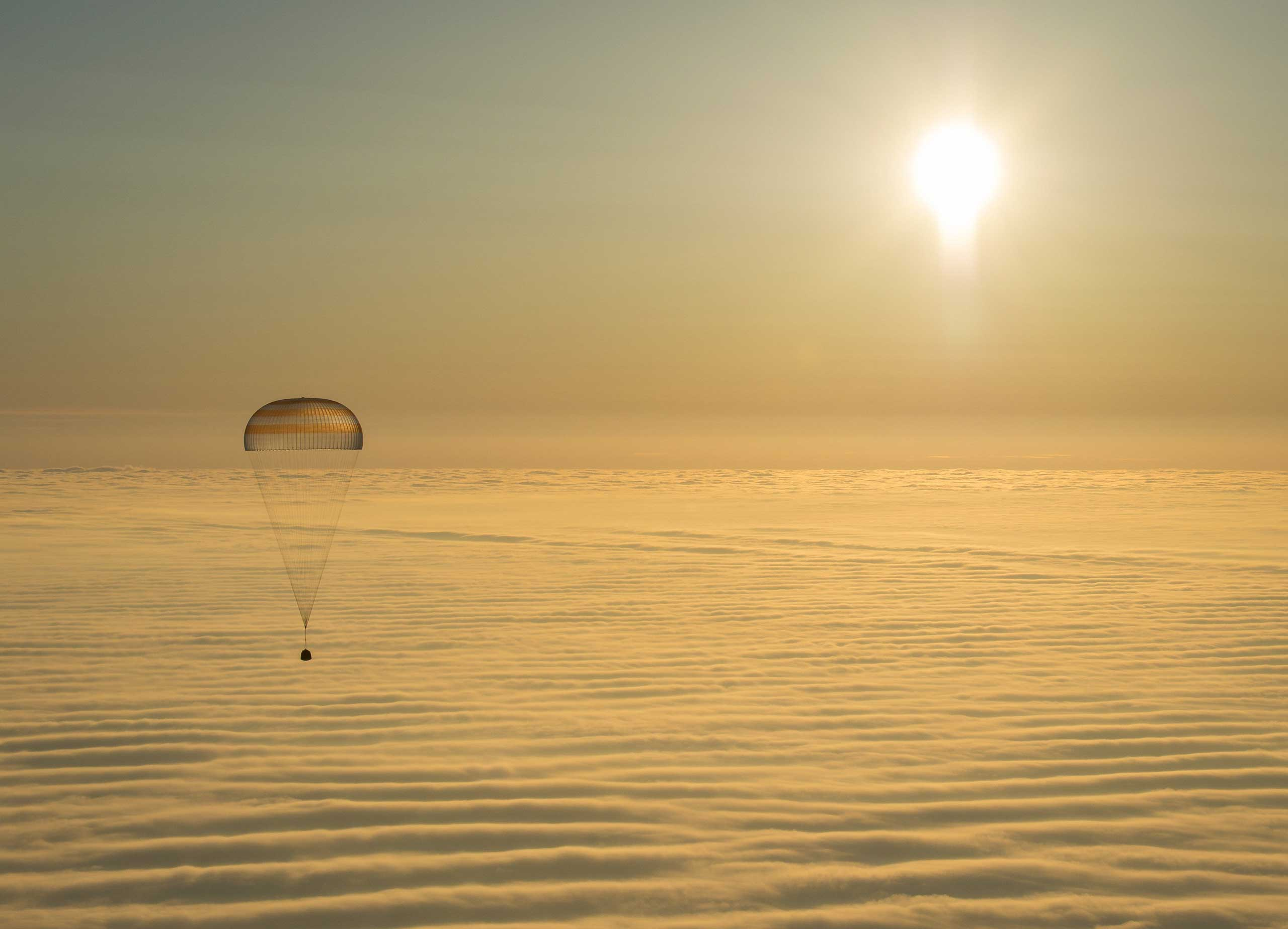 The Soyuz TMA-14M spacecraft is seen as it lands with Expedition 42 commander Barry Wilmore of NASA, Alexander Samokutyaev of the Russian Federal Space Agency (Roscosmos) and Elena Serova of Roscosmos near the town of Zhezkazgan, Kazakhstan. NASA Astronaut Wilmore, Russian Cosmonauts Samokutyaev and Serova are returning after almost six months onboard the International Space Station where they served as members of the Expedition 41 and 42 crews. March 12, 2015.