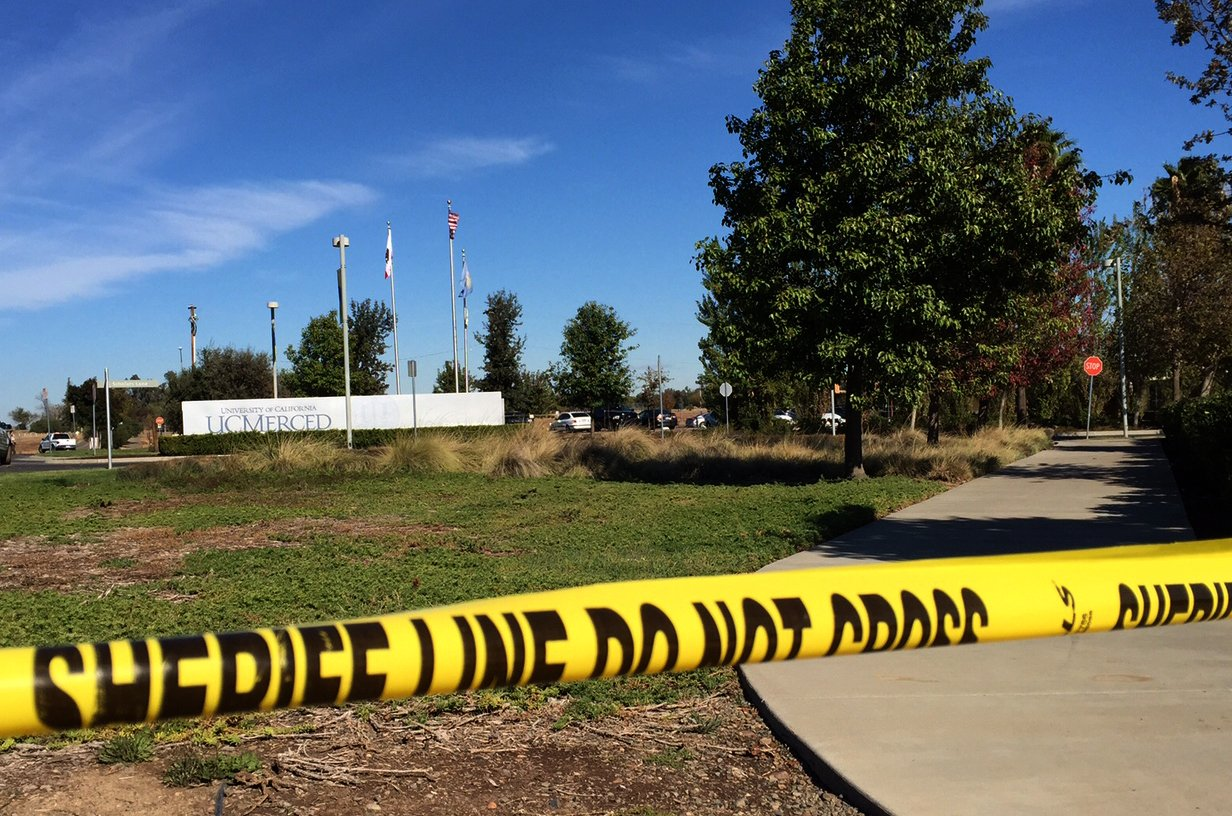 Police tape is seen today outside the University of California's Merced campus after a stabbing on November 4, 2015.