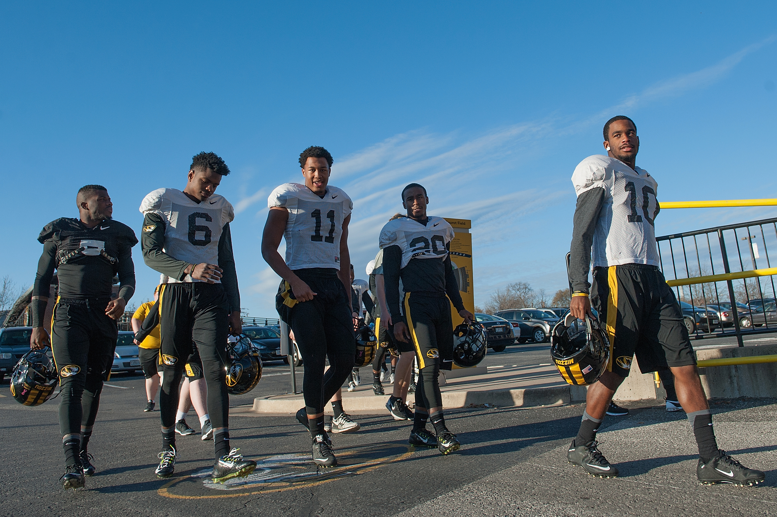 Members of the University of Missouri Tigers Football Team return to practice at Memorial Stadium at Faurot Field in Columbia, Mo. on Nov. 10, 2015.