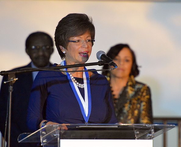 Senior Advisor to the President of the United States Valerie Jarrett  onstage at Grounded in History, Soaring into the Future: Rev. Joseph E. Lowery's 94th Birthday Celebration at Delta flight Museum on October 6, 2015 in Atlanta, Georgia.