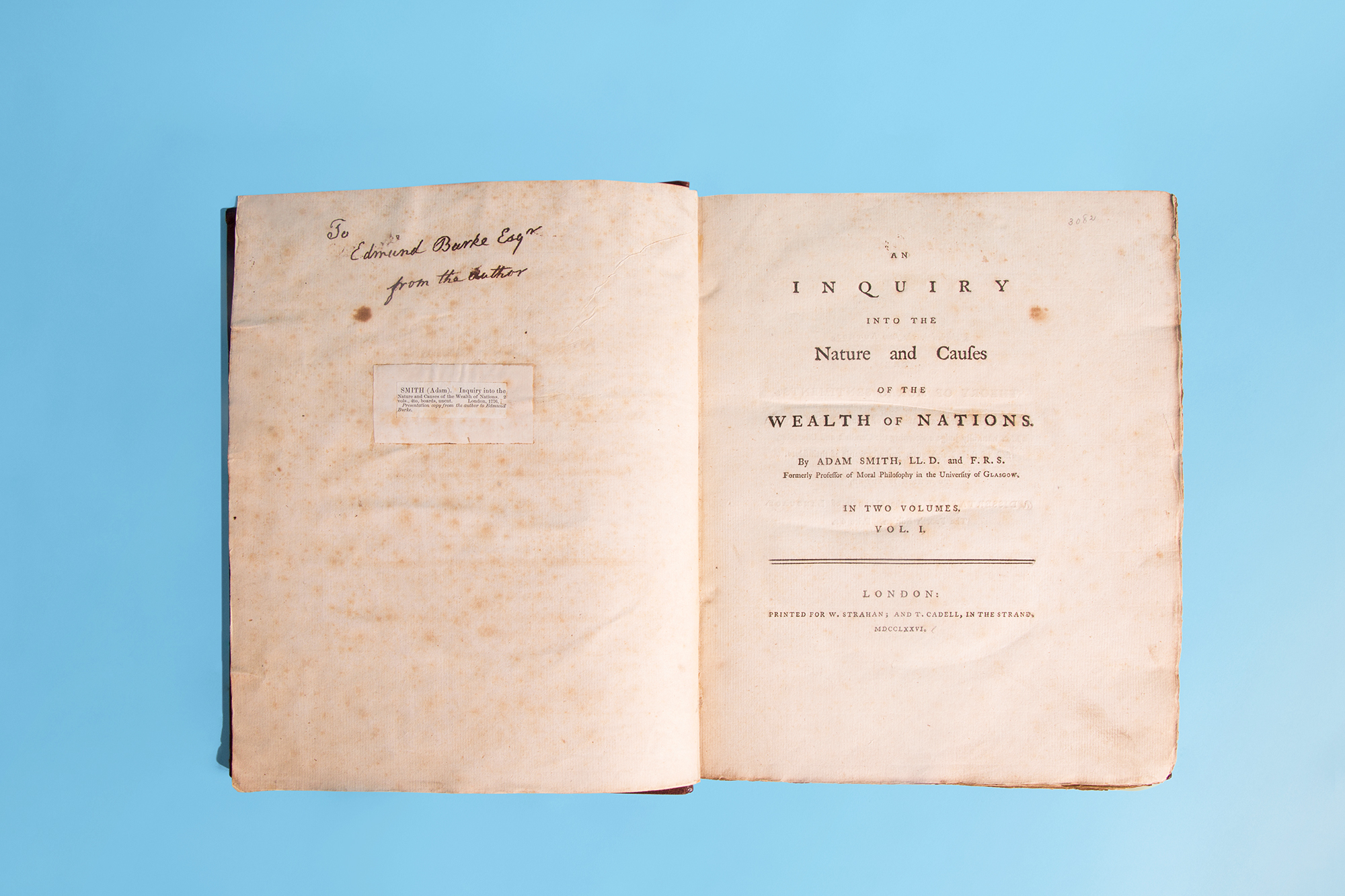 The Wealth of Nations: Henry Luce presented this first-edition copy of The Wealth of Nations, one of the founding texts of modern capitalism, as a gift to FORTUNE for its 25th anniversary. Author Adam Smith signed the title page to philosopher Edmund Burke in 1776.