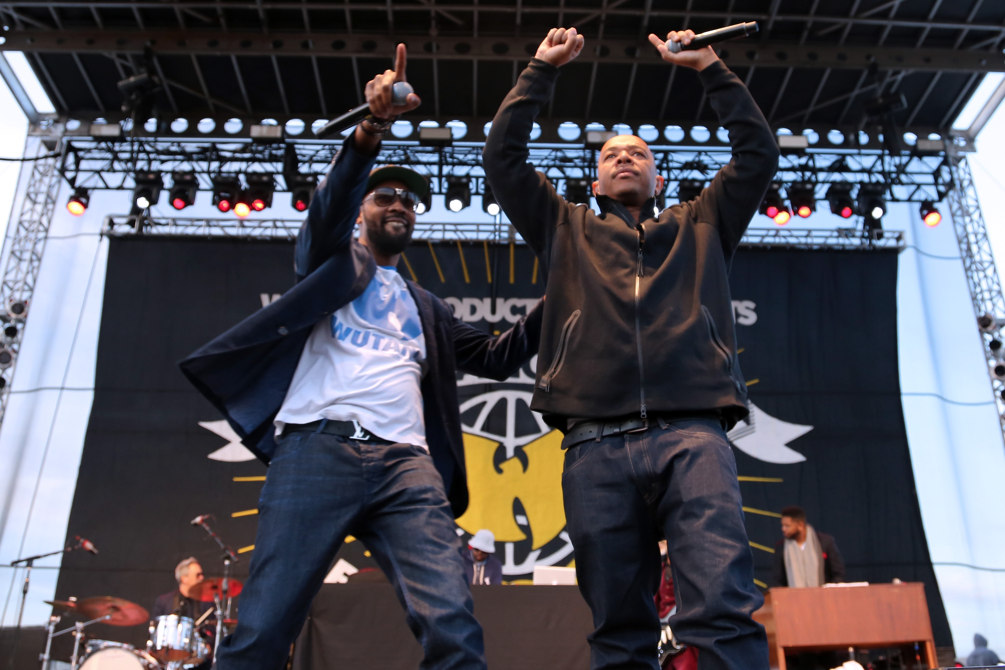 RZA and U-God of Wu-Tang Clan perform on stage during the 2015 Riot Fest at Downsview Park on September 20, 2015 in Toronto.