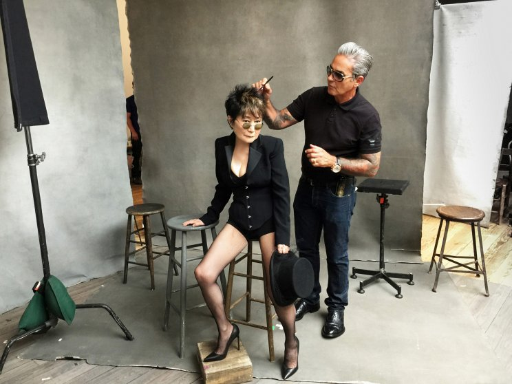 Yoko Ono behind the scenes for the 2016 Pirelli Calendar shoot.