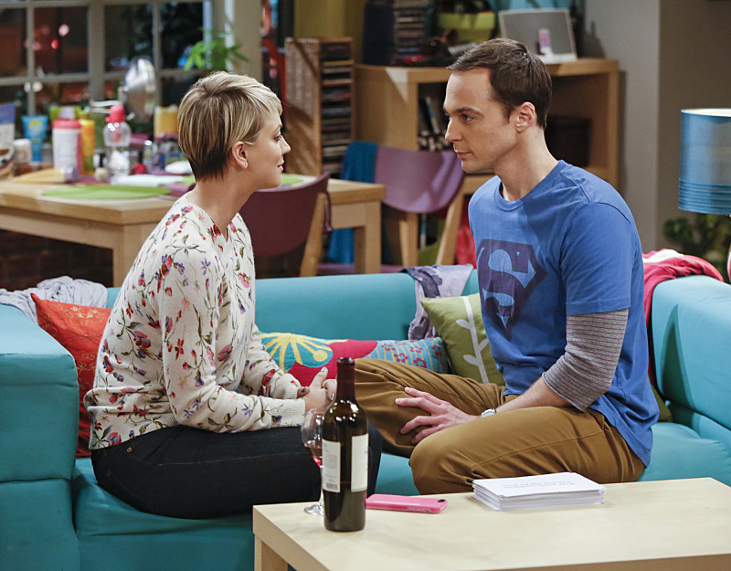 Sheldon (Jim Parsons, right) and Penny (Kaley Cuoco, left) on The Big Bang Theory