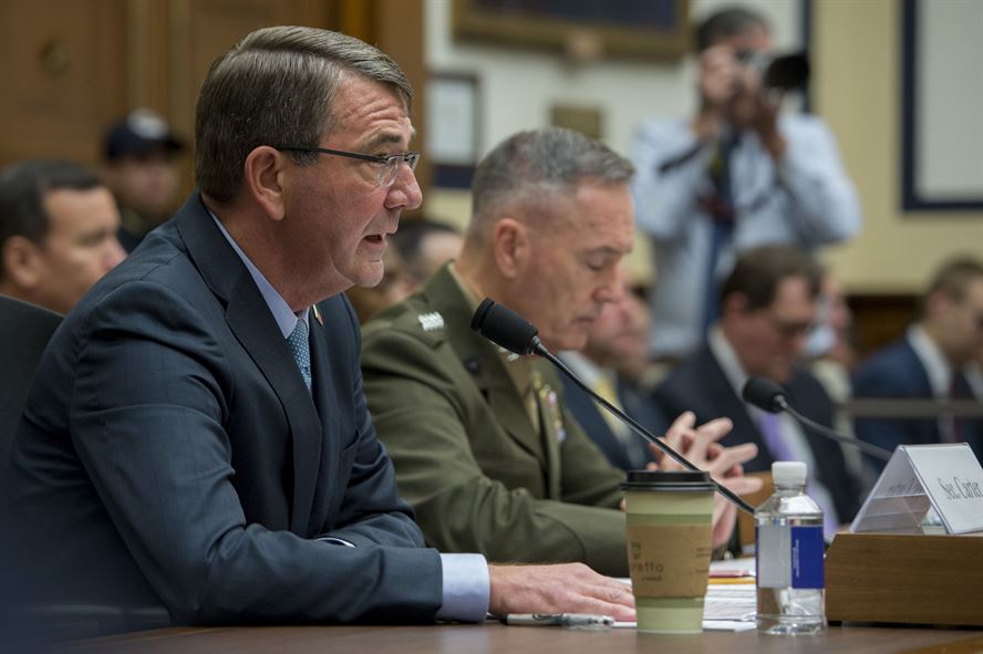 Defense Secretary Ashton Carter and Marine General Joseph Dunford, chairman of the Joint Chiefs, testify before the House Armed Services Committee on Tuesday.