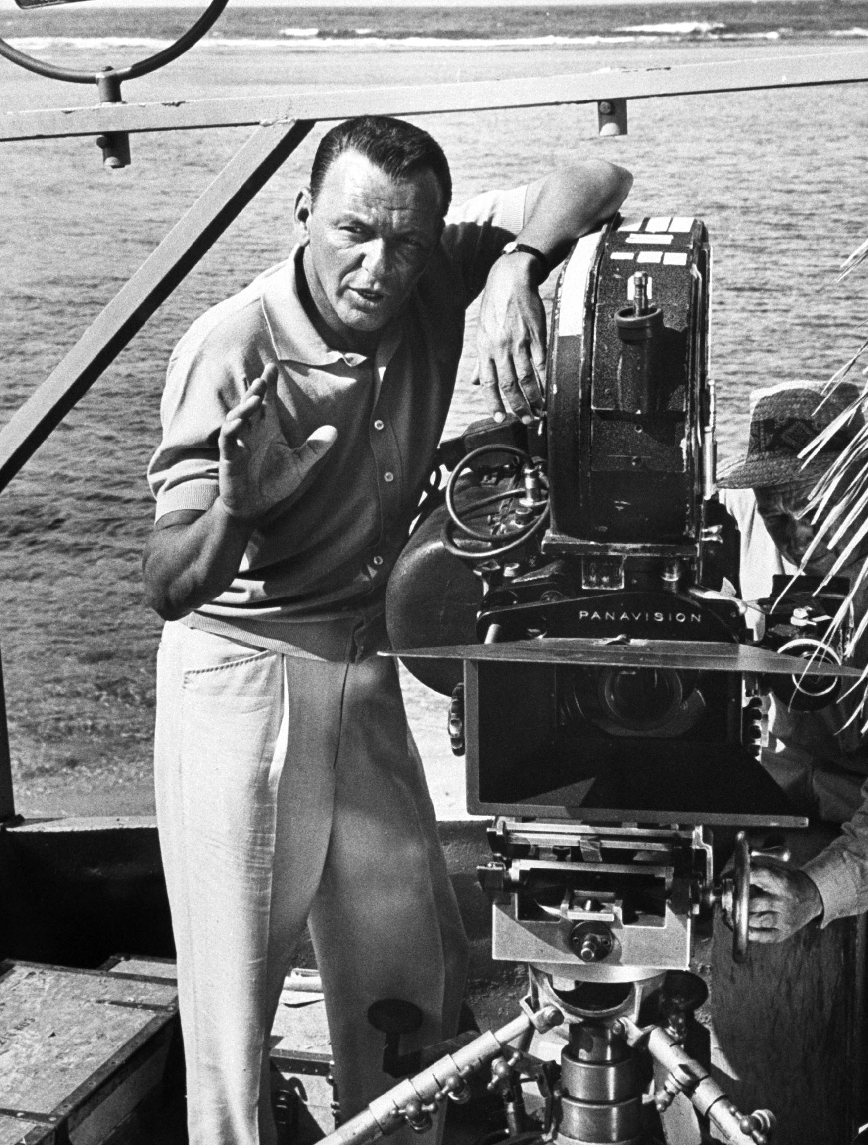 "Sinatra during the filming of ""None But The Brave,"" which he directed in 1964."