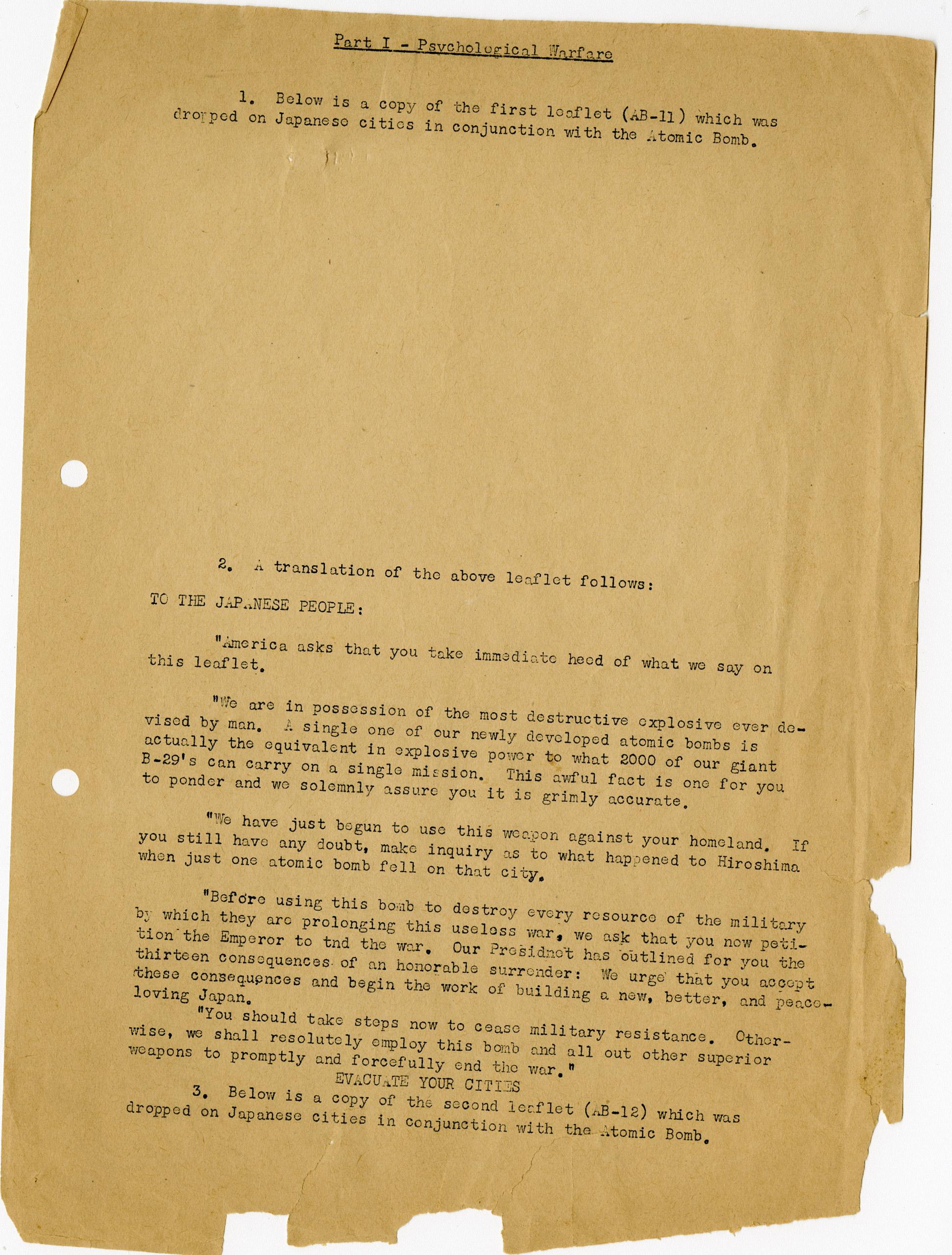 Translation of WWII Japanese warning leaflets.