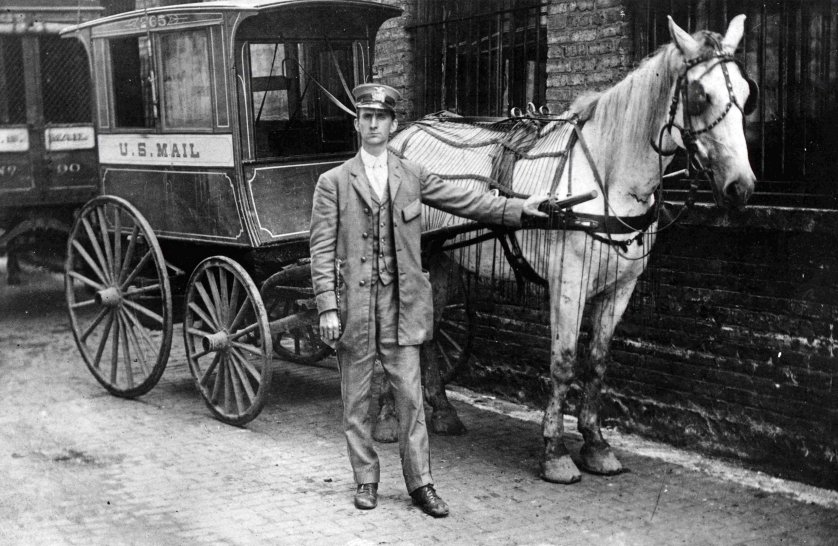 City collection mail wagon manufactured by Studebaker Brothers. The wagon was used to collect mail from sidewalk mailboxes in Chicago, Illinois. 1890.