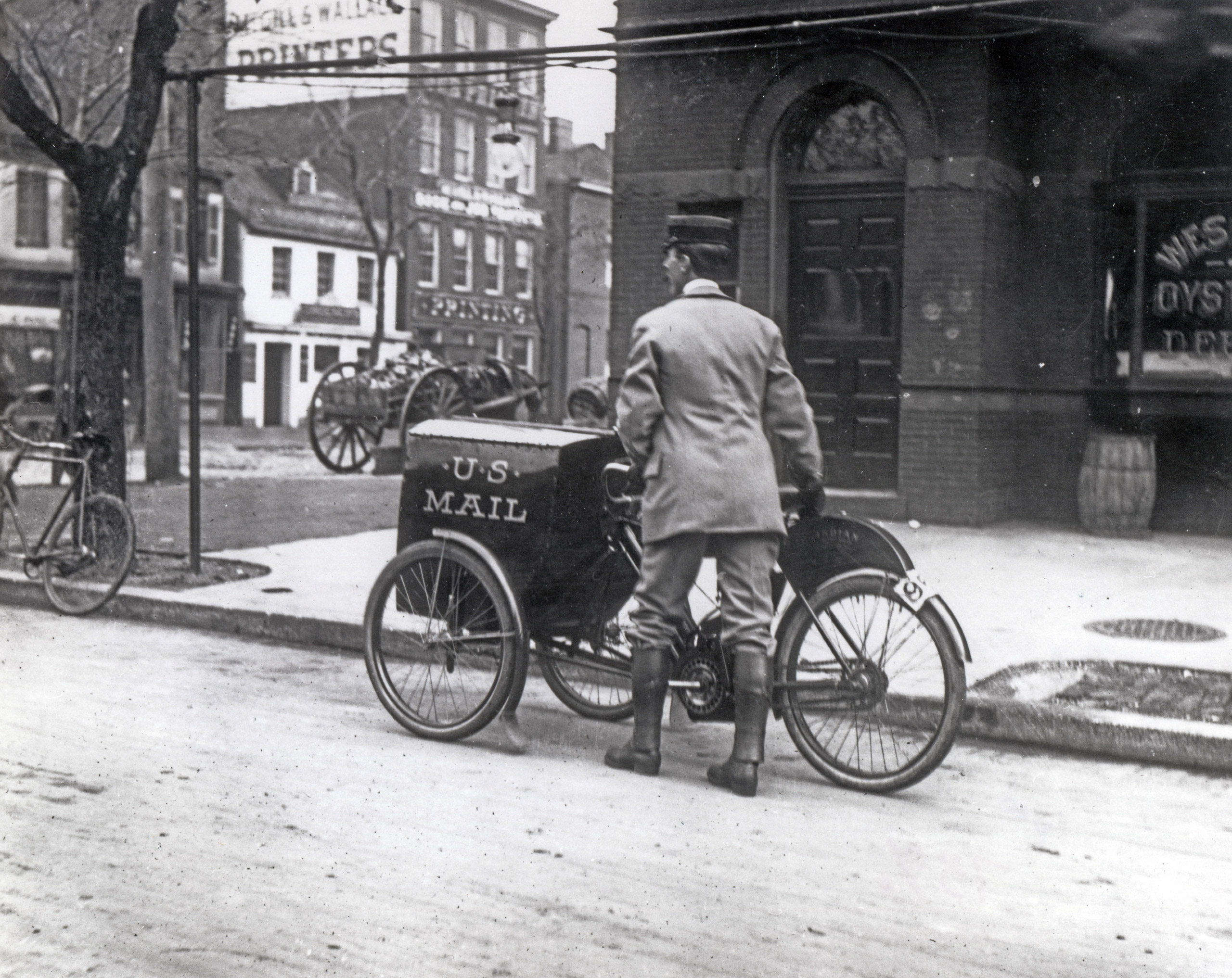 Three-wheeled mail collection motorcycle in Washington, D.C.The motorcycle was used only on an experimental basis in DC in 1912.