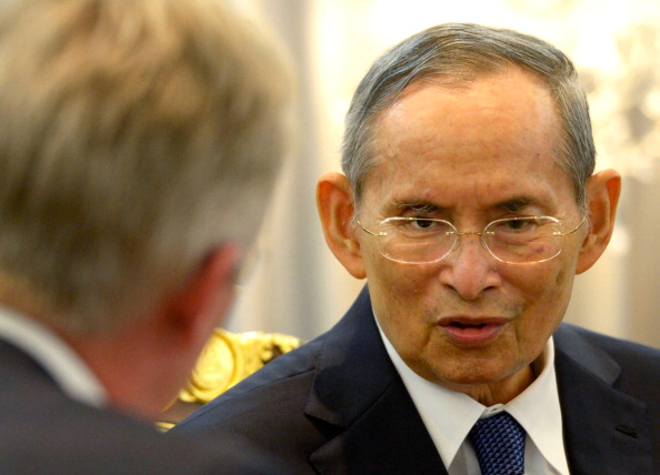 King Bhumibol Adulyadej of Thailand, right, meets with Prince Philippe of Belgium, left, on March 22, 2013, in Bangkok