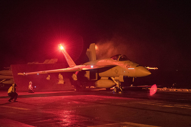 Warplanes from the USS Harry S. Truman in the Arabian Sea began bombing ISIS targets on Tuesday.