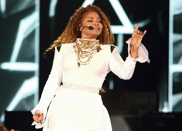 Janet Jackson performs on stage during her  Unbreakable  World Tour concert at AmericanAirlines Arena on September 20, 2015 in Miami, Florida