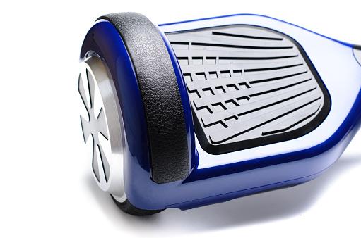 Close-up of dual wheel self-balancing scooter