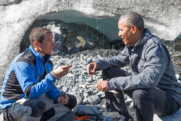 Pictured: (l-r) Bear Grylls, President Barack Obama