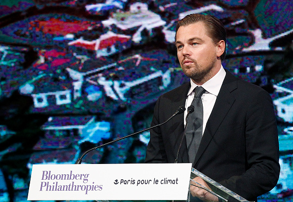 U.S. actor Leonardo DiCaprio delivers a speech during the Summit of Local elected for Climate at the Paris city hall on December 04, 2015 in Paris, France