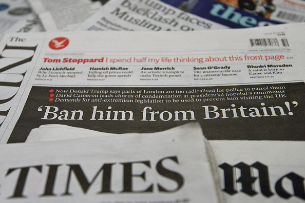 A general view of the front pages of British national newspapers on December 9, 2015 in London, England