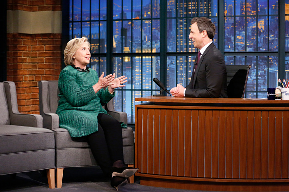 Presidential candidate Hillary Clinton during an interview with host Seth Meyers on December 10, 2015
