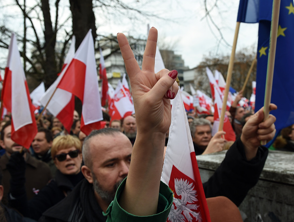 Protesters show victory sign during an antigovernment demonstration in Warsaw on  Dec. 19, 2015