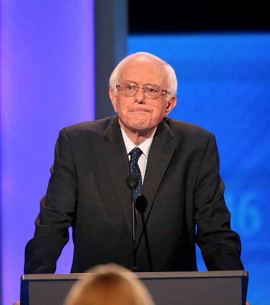 Democratic president candidate Bernie Sanders speaks at the debate at Saint  Anselm College December 19, 2015 in Manchester, New Hampshire. This is the third Democratic debate featuring Democratic candidates Hillary Clinton, Bernie Sanders and Martin O'Malley. Andrew Burton—Getty Images