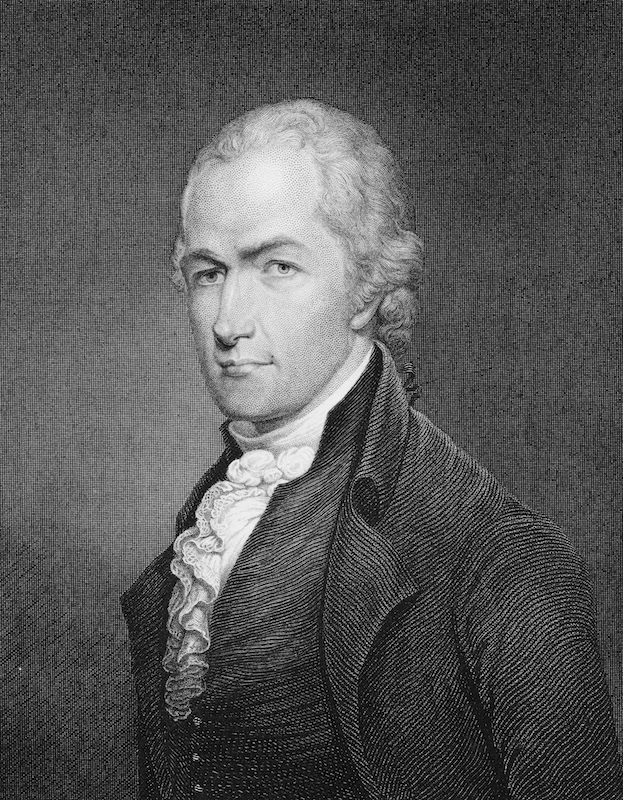 American lawyer and statesman Alexander Hamilton (1755 - 1804), one of the Founding Fathers of the United States, circa 1775. Engraving by E. Prud'homme after a miniature by Archibald Robertson.