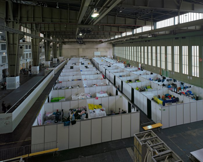 A temporary refugee camp in a former hangar of Berlin's Tempelhof Airport.