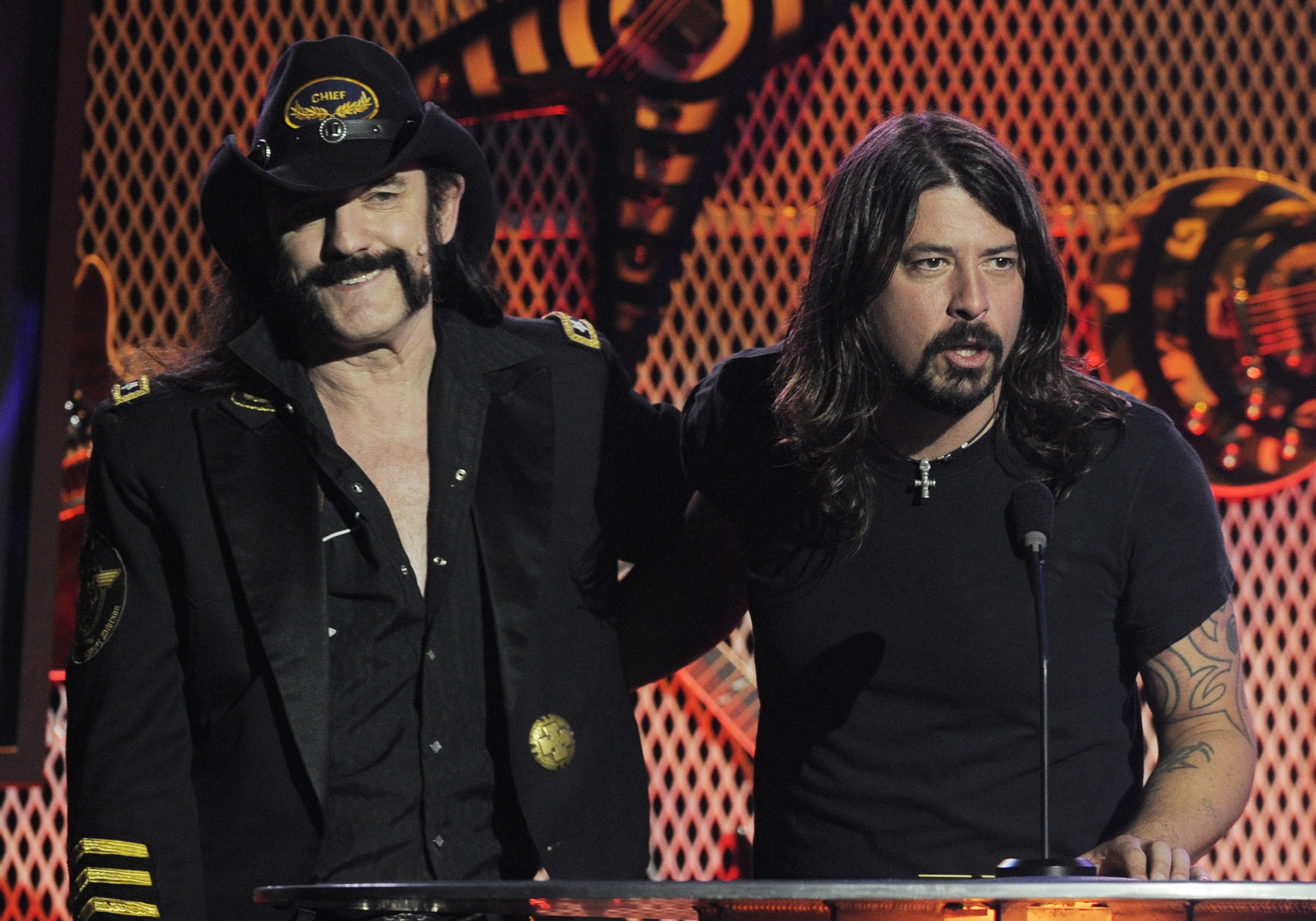 Motorhead singer Lemmy Kilmister, left, with Dave Grohl during the second annual Revolver Golden Gods Awards in Los Angeles, April 8, 2010