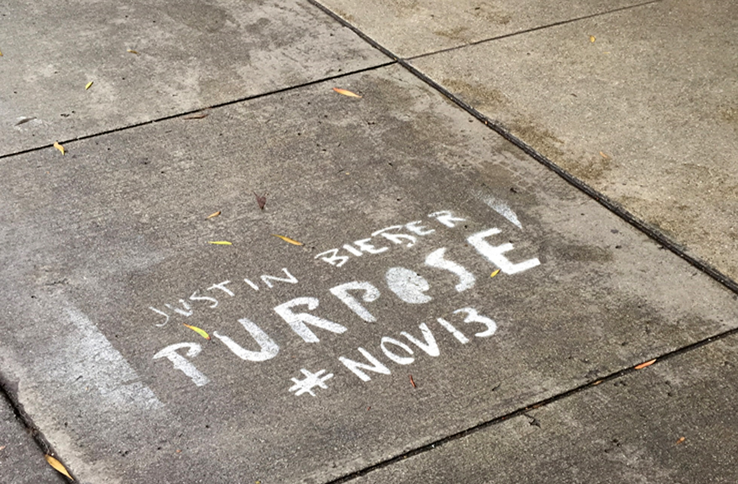 Justin Bieber graffiti sprayed onto a San Francisco street on Dec. 26, 2015.