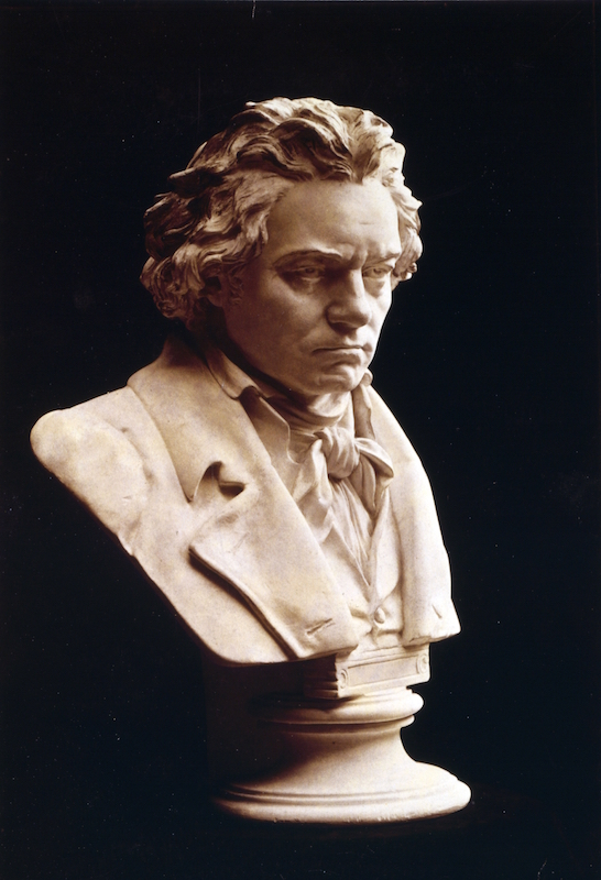 Circa 1754: Portrait bust of Ludwig van Beethoven (1770-1827), German composer and pianist.