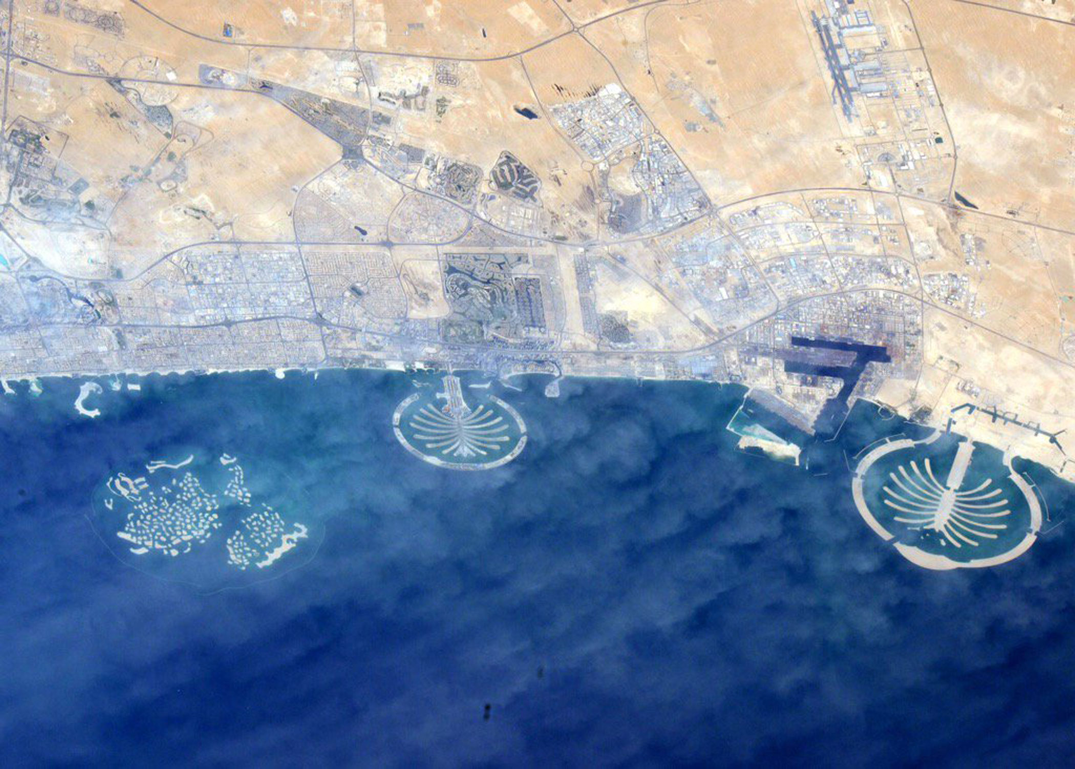 The artificial Palm and World Islands off the coast of Dubai as photographed by astronaut Kjell Lindgren aboard the International Space Station on Nov. 20, 2015.