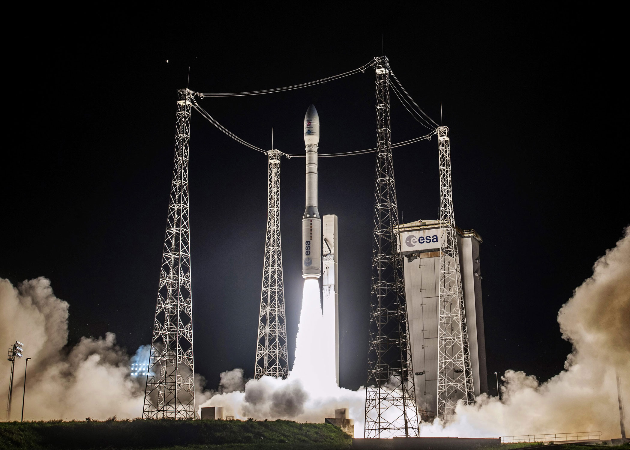A Vega rocket lifts off from French Guiana on Dec. 3 2015, carrying the European Space Agency's LISA Pathfinder spacecraft, which will test methods for detecting gravity waves.