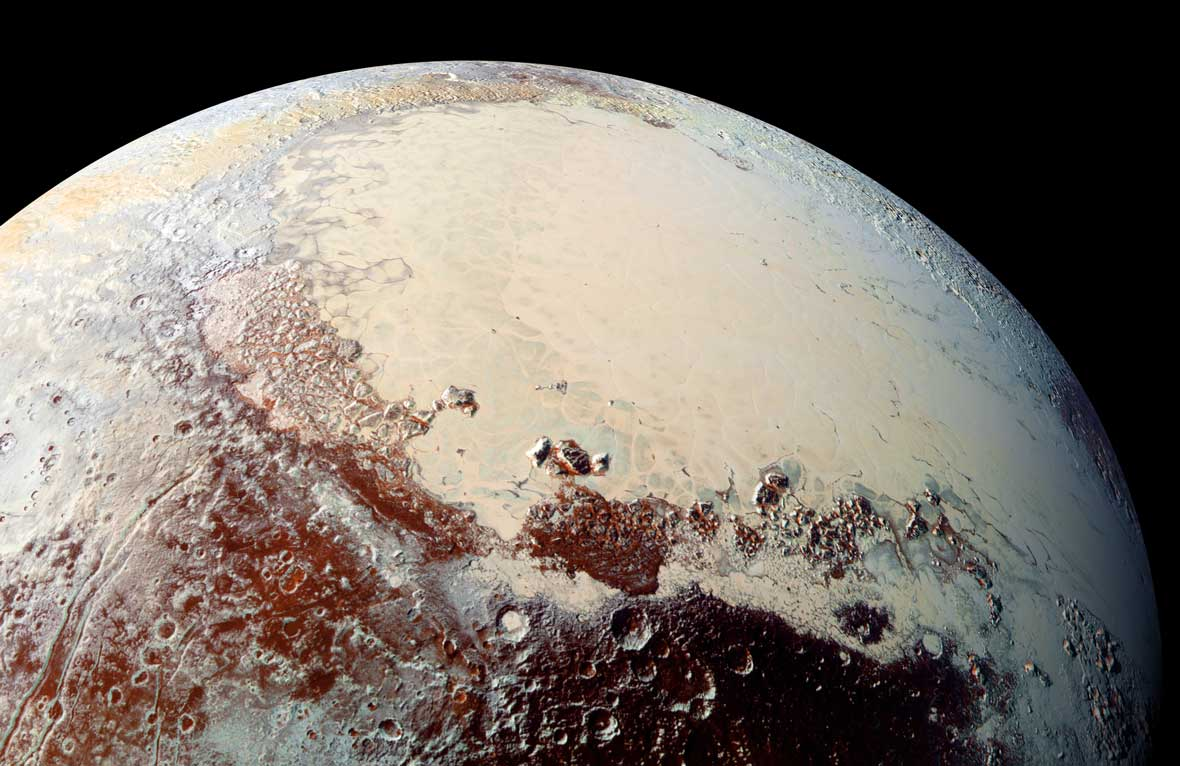 This high-resolution image of Pluto was captured by NASA's New Horizons spacecraft and released on Oct. 15, 2015. The bright expanse is the western lobe of the heart-shaped formation informally known as Tombaugh Regio.