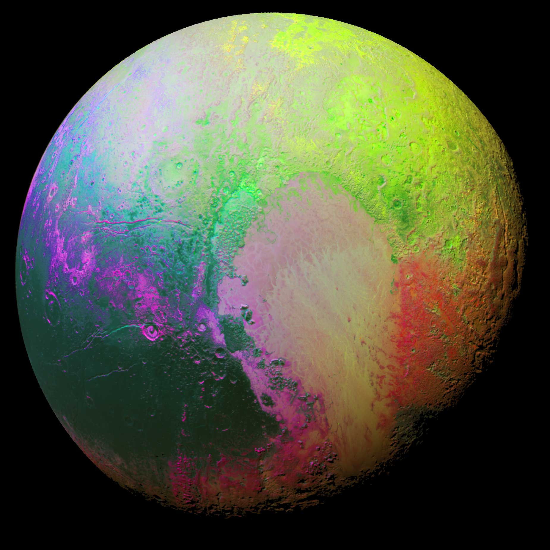 New Horizons scientists made this false color image of Pluto using a technique called principal component analysis to highlight the many subtle color differences among Pluto's different regions. The picture was taken from a distance of 22,000 miles on July 14, 2015.